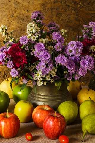 iPhone Wallpaper Fruit, green and red apples, pears, pumpkin, flowers, still life