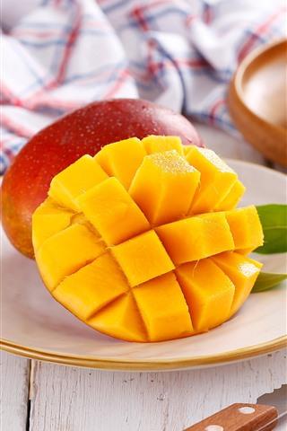 iPhone Wallpaper Fruit, mango, knife