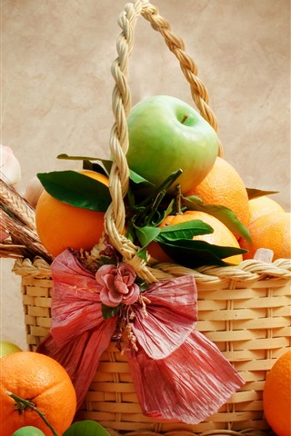 iPhone Wallpaper Fruit, oranges, apples, basket