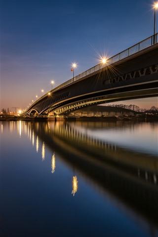 iPhone Wallpaper Germany, Berlin, bridge, river, night, lights