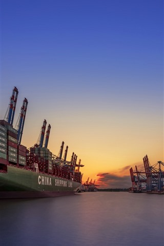 iPhone Wallpaper Germany, Hamburg, port, ship, sea, sunset
