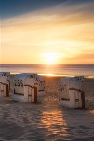 iPhone Wallpaper Germany, Lower Saxony, sun loungers, beach, sea, sunset