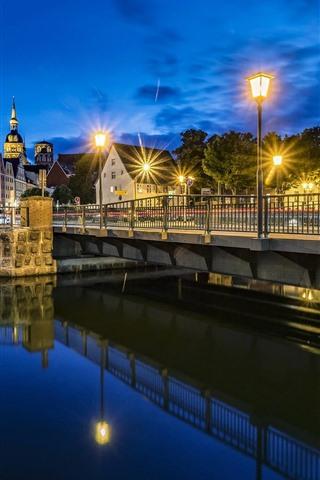 iPhone Wallpaper Germany, Stralsund, river, bridge, lights, night
