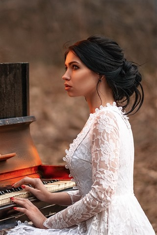 iPhone Wallpaper Girl play piano, fire, flame
