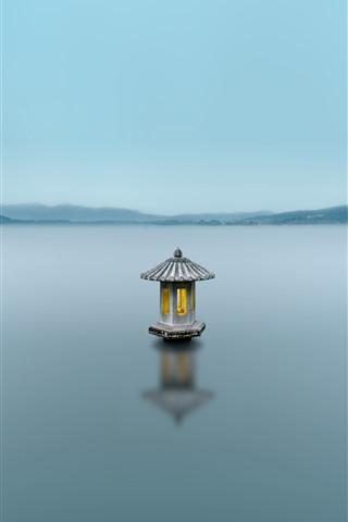 iPhone Wallpaper Hangzhou West Lake, fog, morning