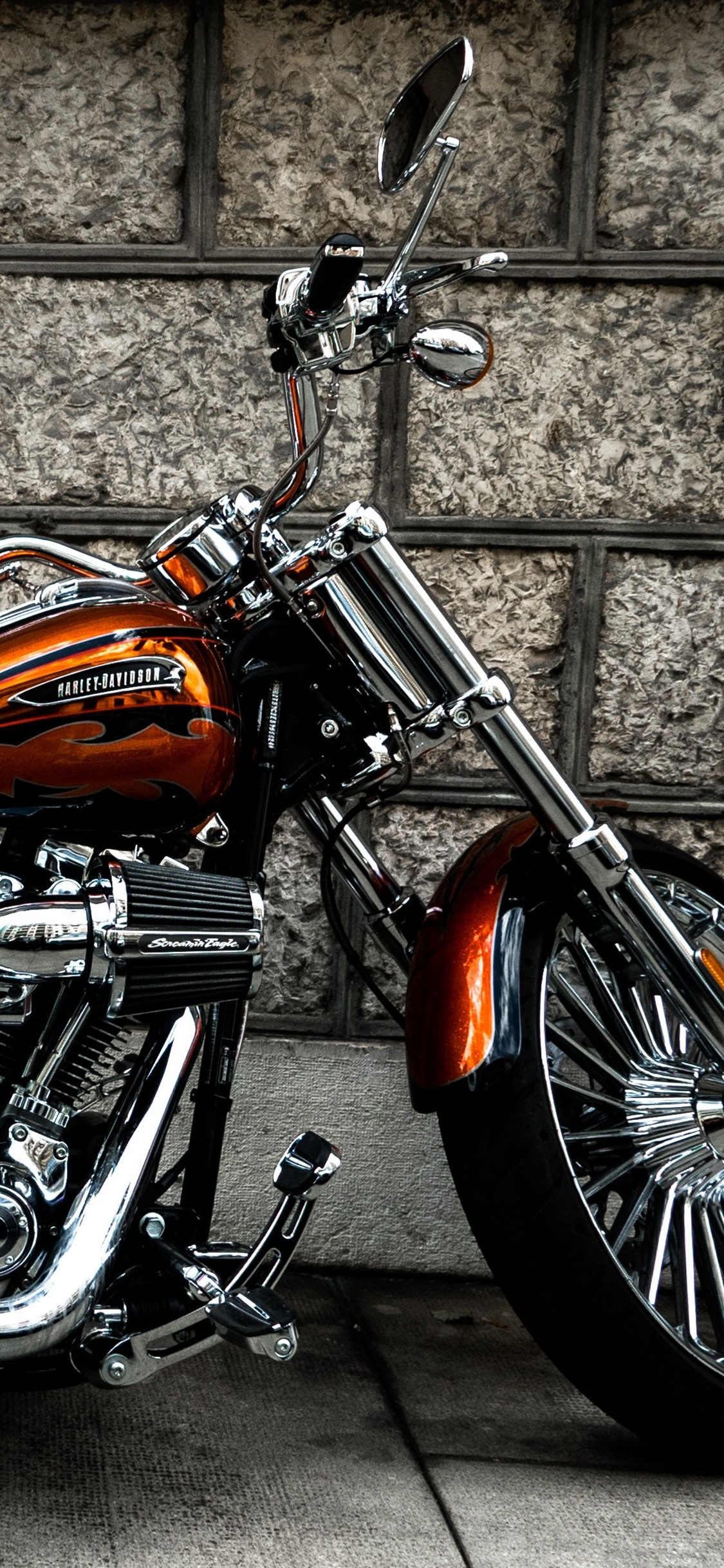 Harley Davidson Motorcycle Side View 1125x2436 Iphone Xs X