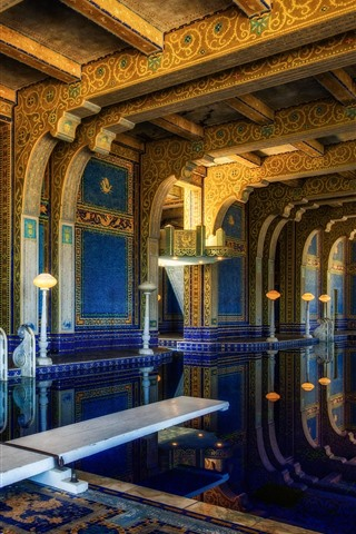 iPhone Wallpaper Hearst castle, interior, pool, USA