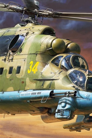 iPhone Wallpaper Helicopter, cars, army, art picture