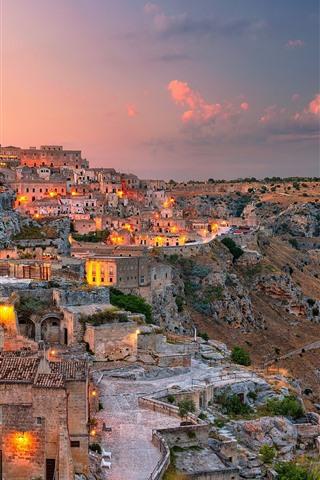 iPhone Wallpaper Italy, Matera, Basilicata, city, dusk, lights
