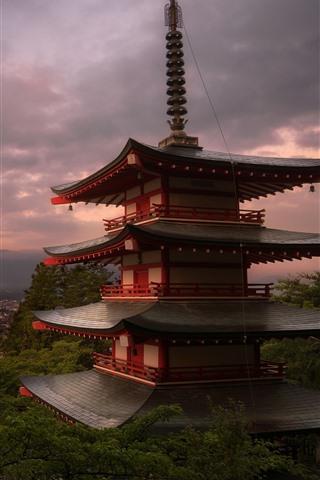 iPhone Wallpaper Japan, temple, Fuji Mount, clouds, dusk