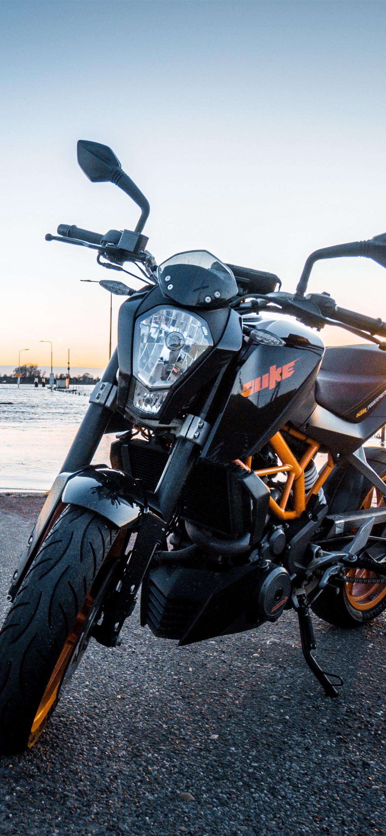 Wallpaper Ktm Motorcycle Front View River 5120x2880 Uhd 5k