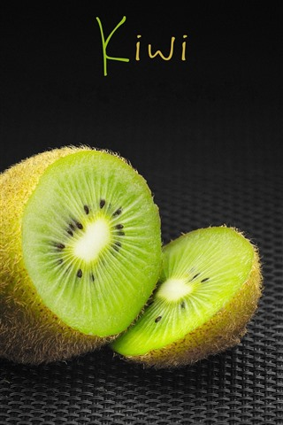 iPhone Wallpaper Kiwi, green, black background