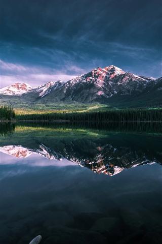 iPhone Wallpaper Lake, morning, mountains, water reflection