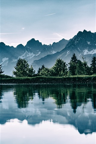 iPhone Wallpaper Lake, mountains, water reflection, nature landscape