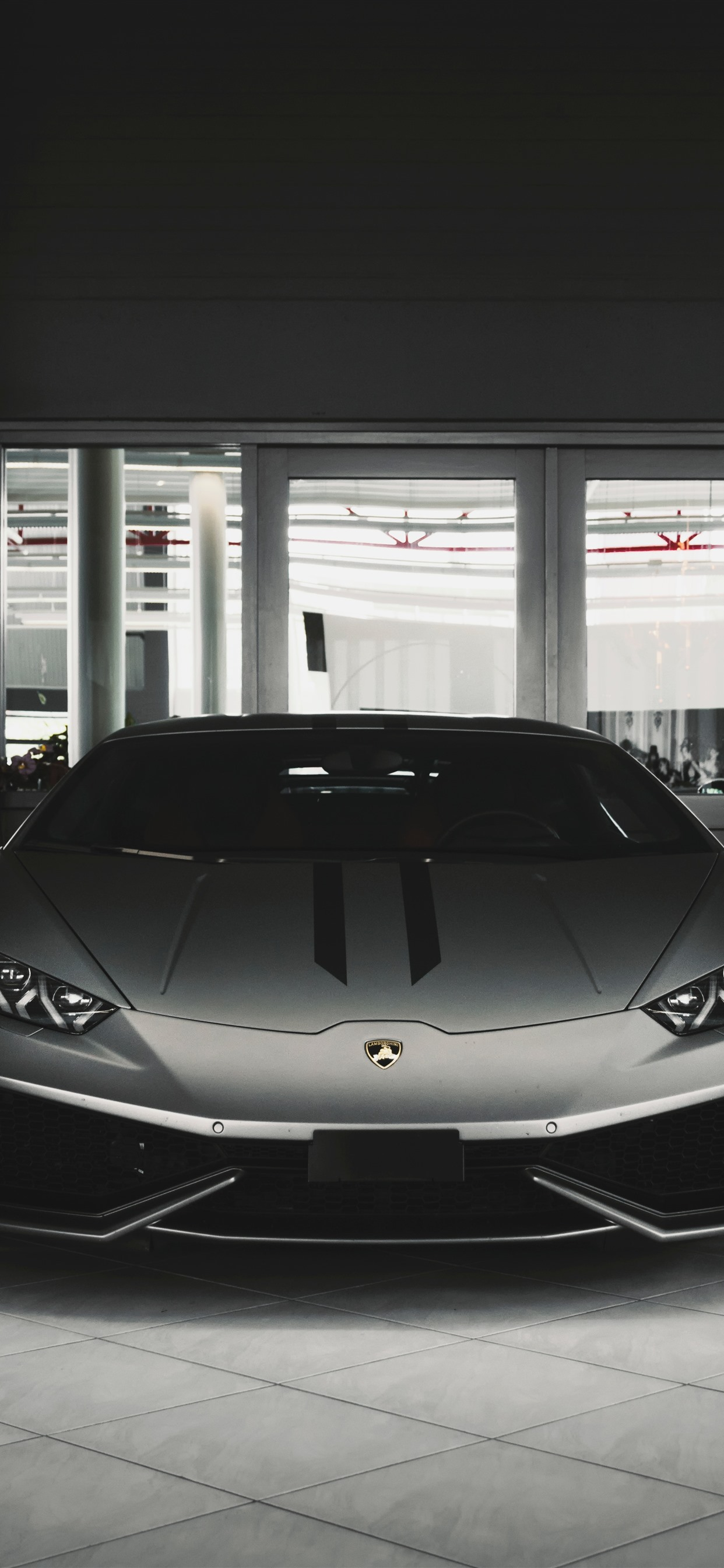 Lamborghini Silver Car Front View 1242x2688 Iphone Xs Max Wallpaper