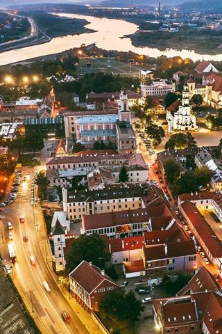 iPhone Wallpaper Lithuania, Kaunas, city at night