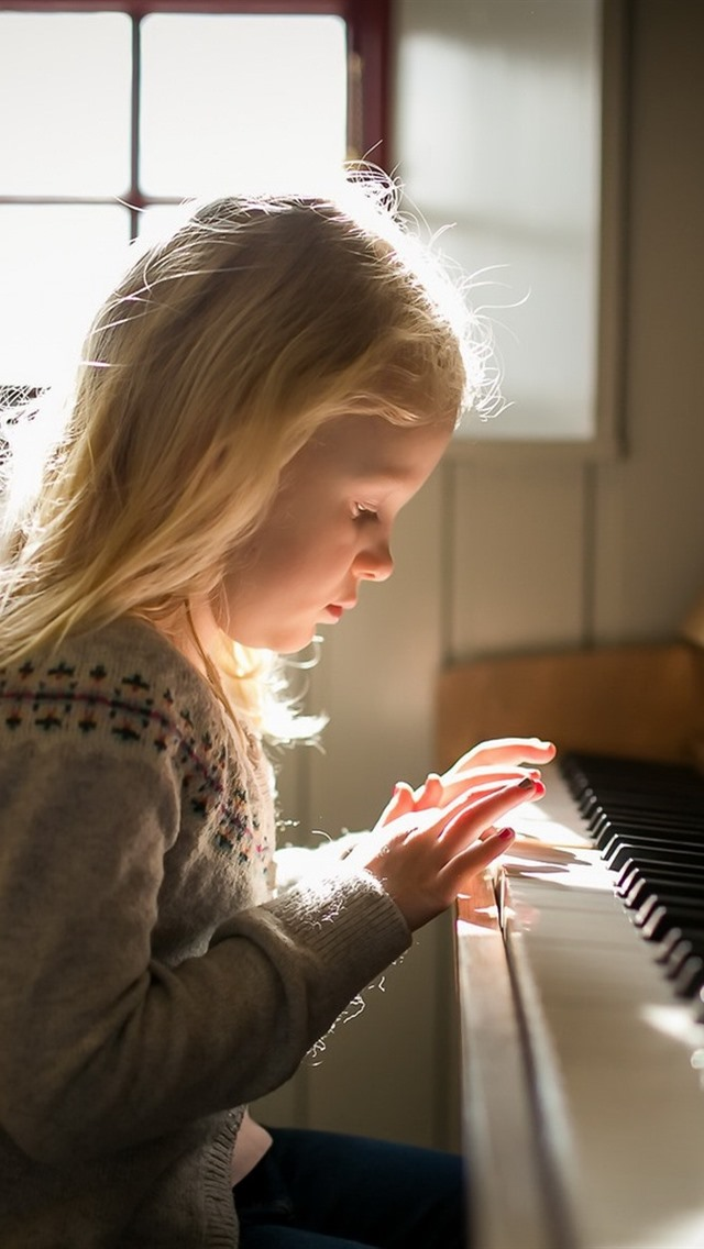 Nudist little girl playing piano shoes stem cell