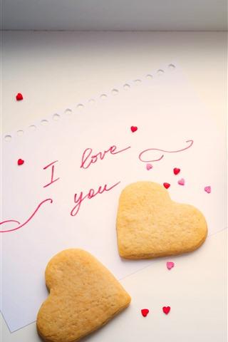 iPhone Wallpaper Love heart cookies, coffee, cup