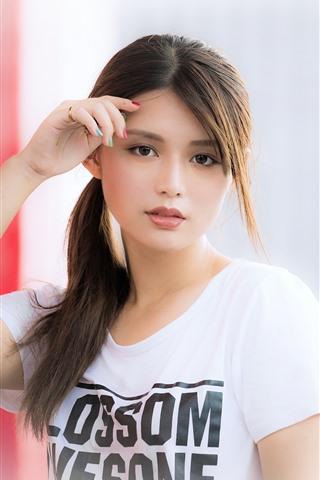 iPhone Wallpaper Lovely Asian girl, shirt