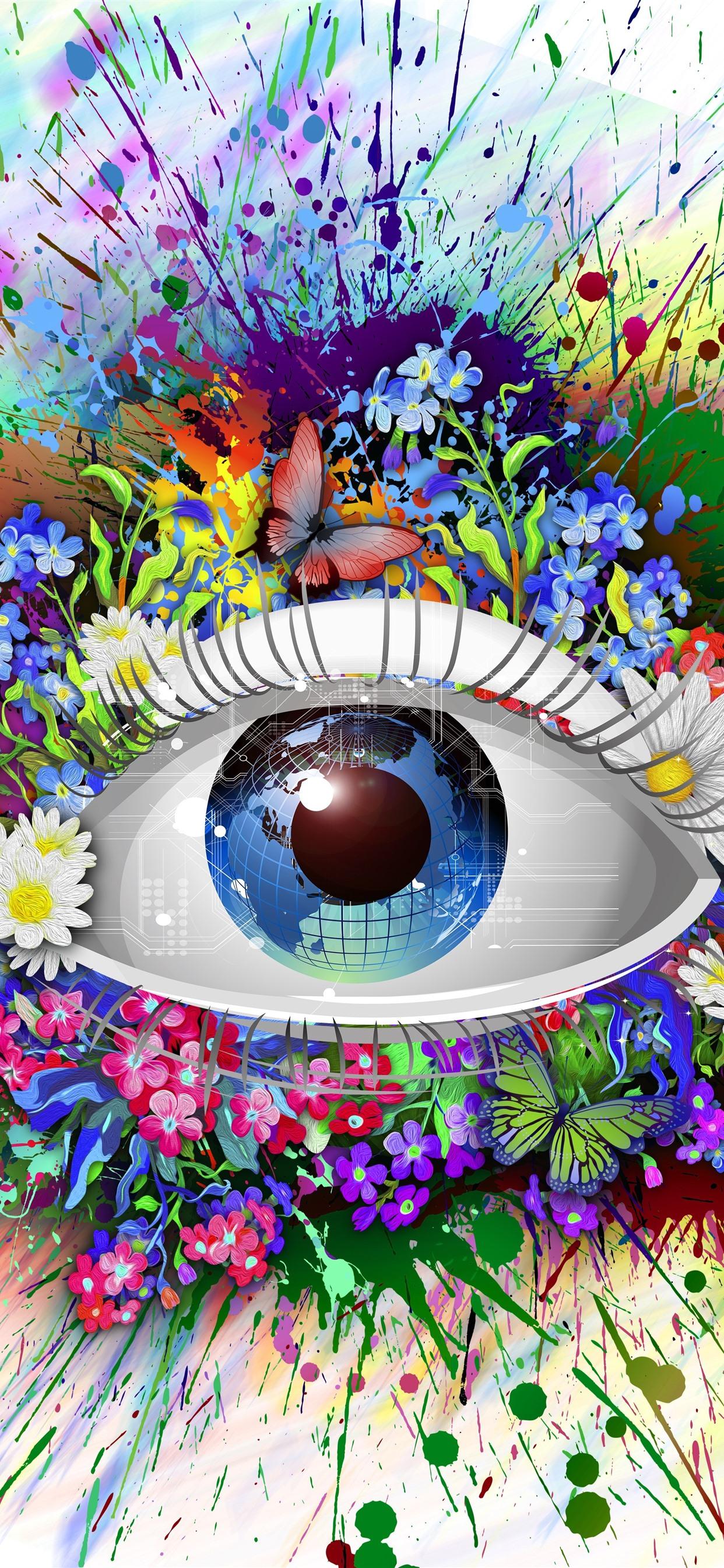 Magic Eye Flowers Earth Colorful Creative Design