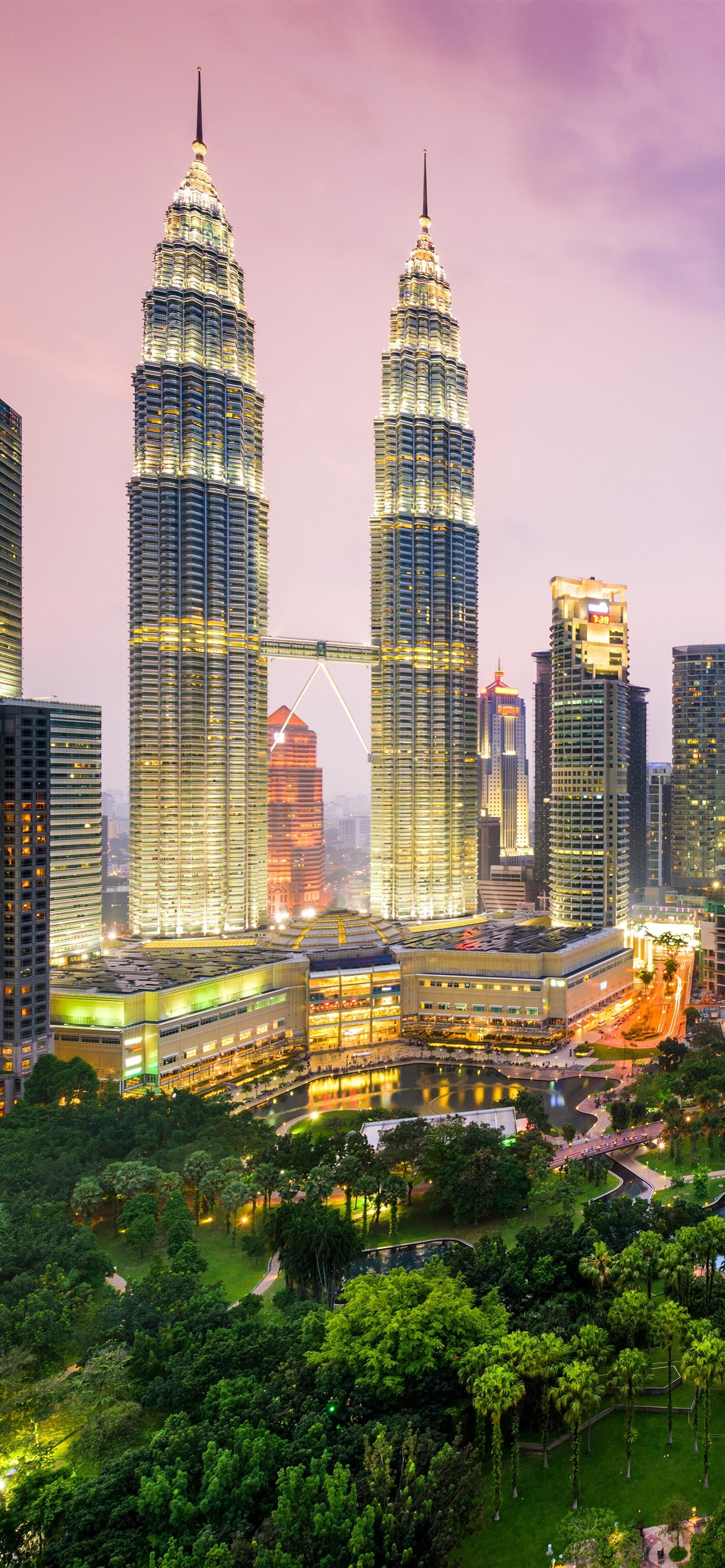 Malaysia Kuala Lumpur Skyscrapers City Lights Dusk