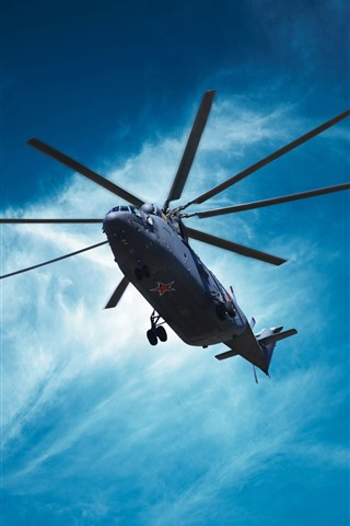 iPhone Wallpaper Mi-26 helicopter, blue sky, clouds