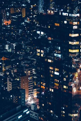 iPhone Wallpaper Minato, city, houses, lights, night, Japan