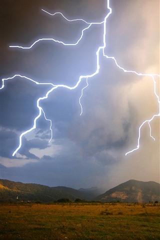 iPhone Wallpaper Mountains, grass, clouds, lightning, storm