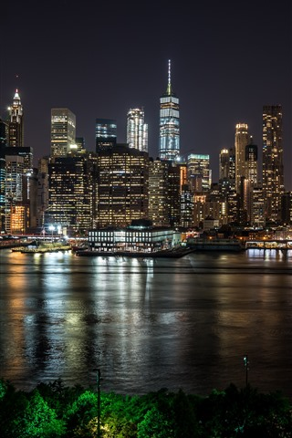 New York At Night City River Skyscrapers Lights Usa