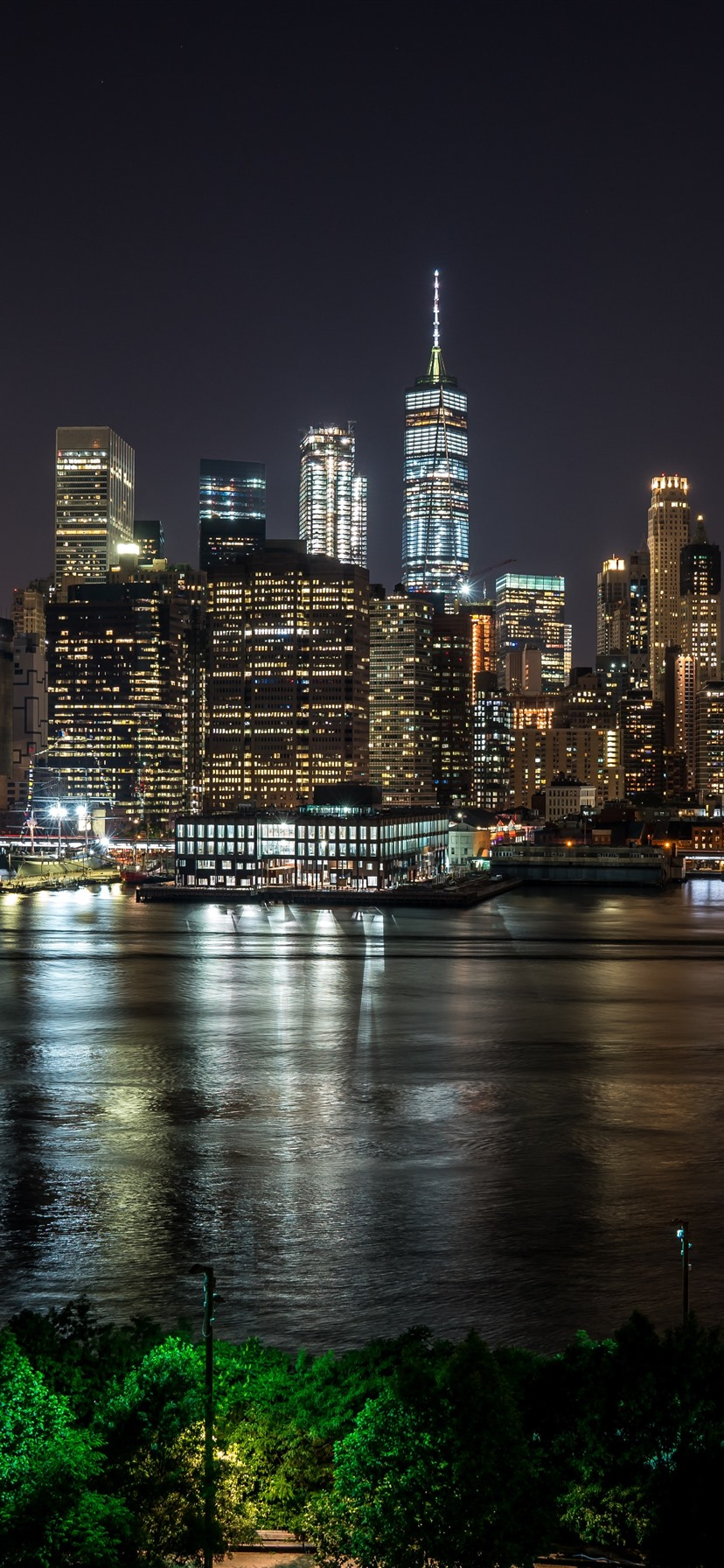 New York At Night City River Skyscrapers Lights Usa 1242x2688 Iphone 11 Pro Xs Max Wallpaper Background Picture Image