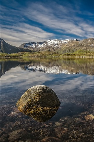 iPhone Wallpaper Norway, Lofoten, lake, water reflection, mountains, blue sky