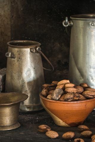 iPhone Wallpaper Nuts, metal kettle