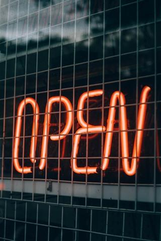 iPhone Wallpaper Open, neon lights