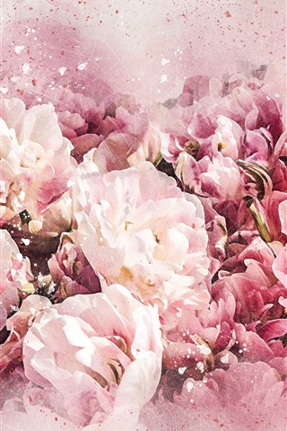 iPhone Wallpaper Pink flowers, watercolor style