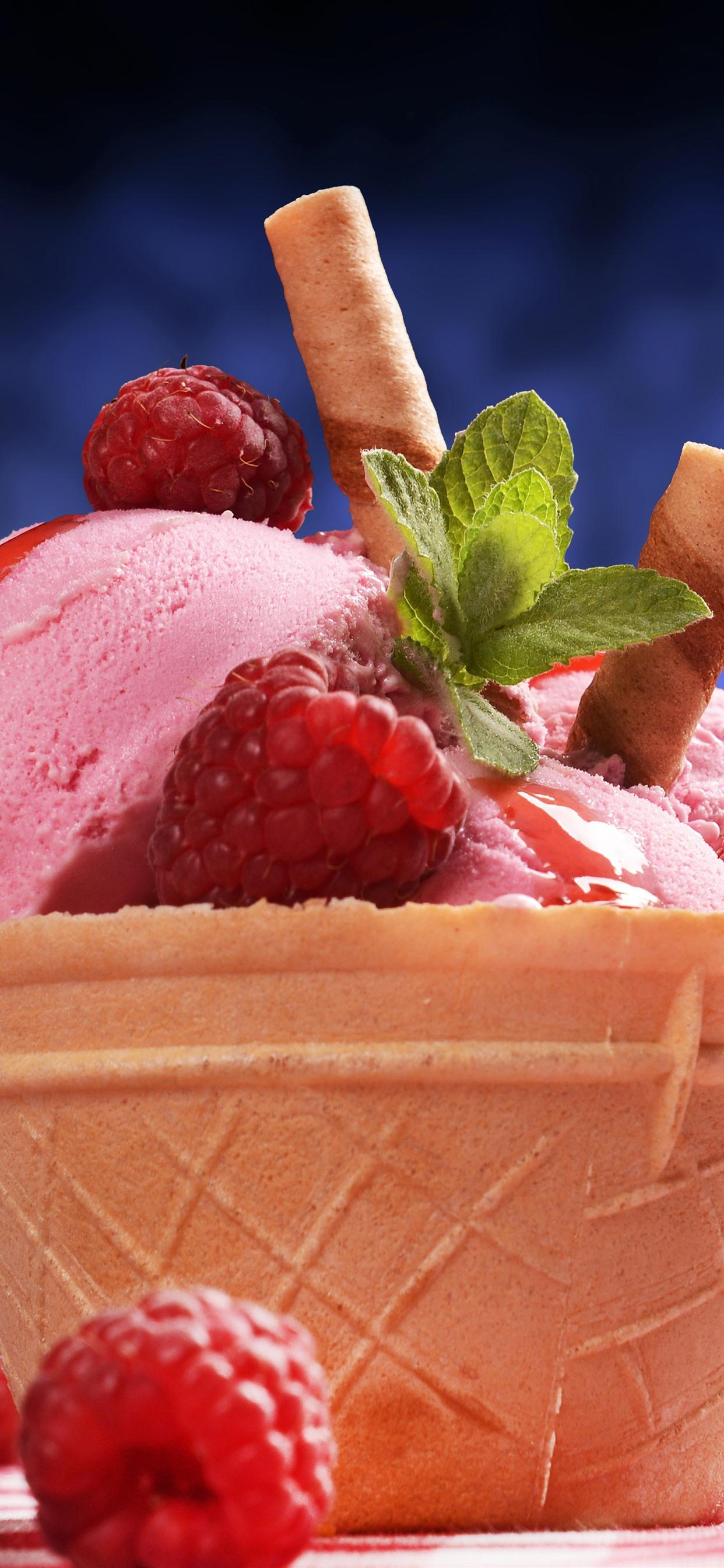 Pink Ice Cream Dessert Raspberry 1242x2688 Iphone Xs Max