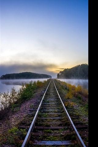 iPhone Wallpaper Railroad, river, fog, morning