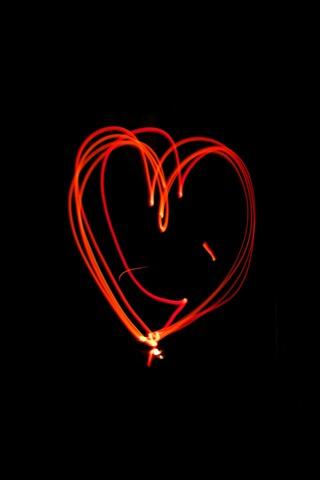 red love heart light lines black
