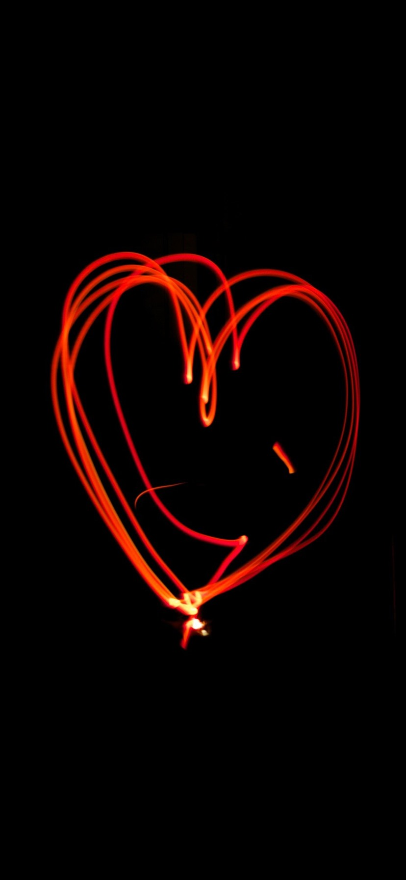 Red Love Heart Light Lines Black Background 1080x1920 Iphone 8 7