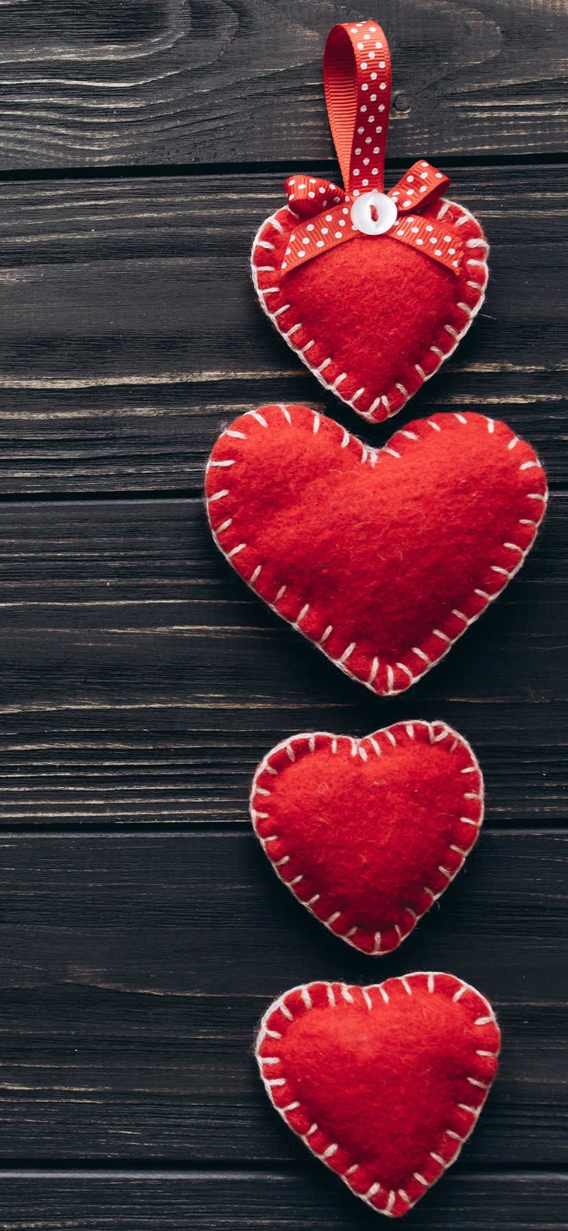 Red Love Hearts Decoration Wood Board 1242x2688 Iphone 11 Pro Xs Max Wallpaper Background Picture Image