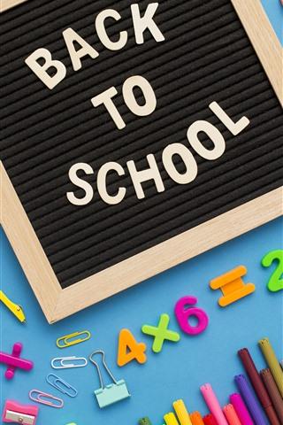 iPhone Wallpaper School study accessories, pencil, scissors, pen, numeric