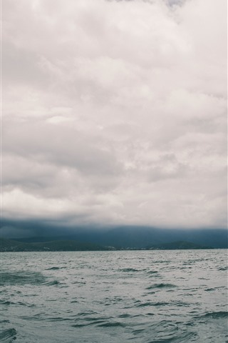 iPhone Wallpaper Sea, hills, clouds, dusk