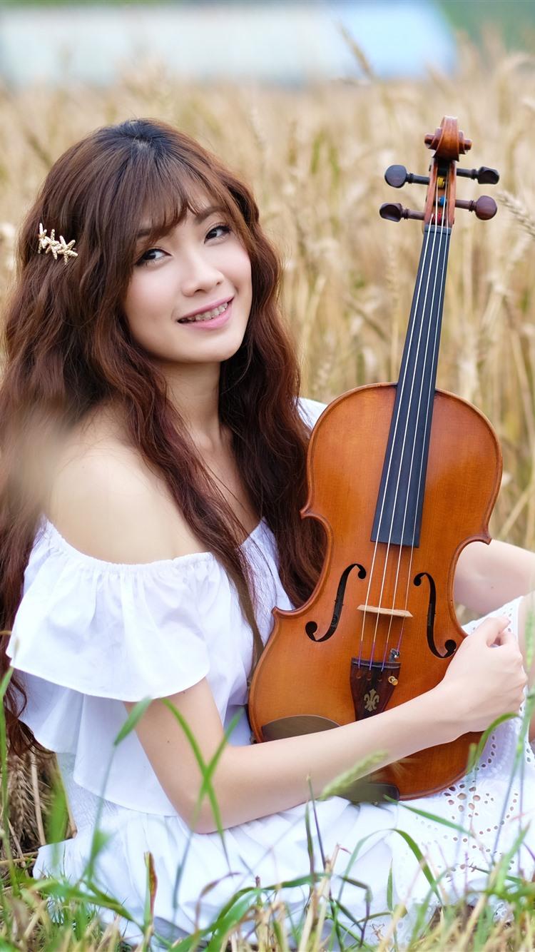 Wallpaper smile asian girl violin wheat field 3840x2160 - Asian girl 4k ...