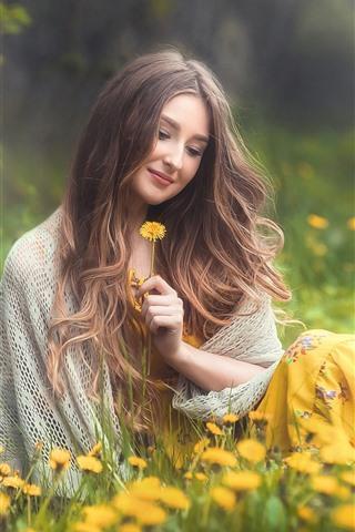 iPhone Wallpaper Smile girl, brown hair, yellow flowers, spring