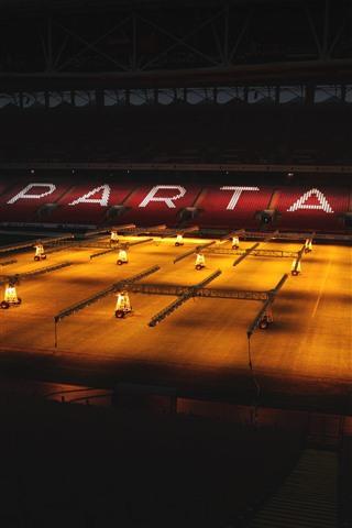 iPhone Wallpaper Spartacus Football Stadium, night, lights