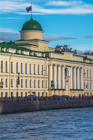 iPhone Wallpaper St. Petersburg, river, houses, trees