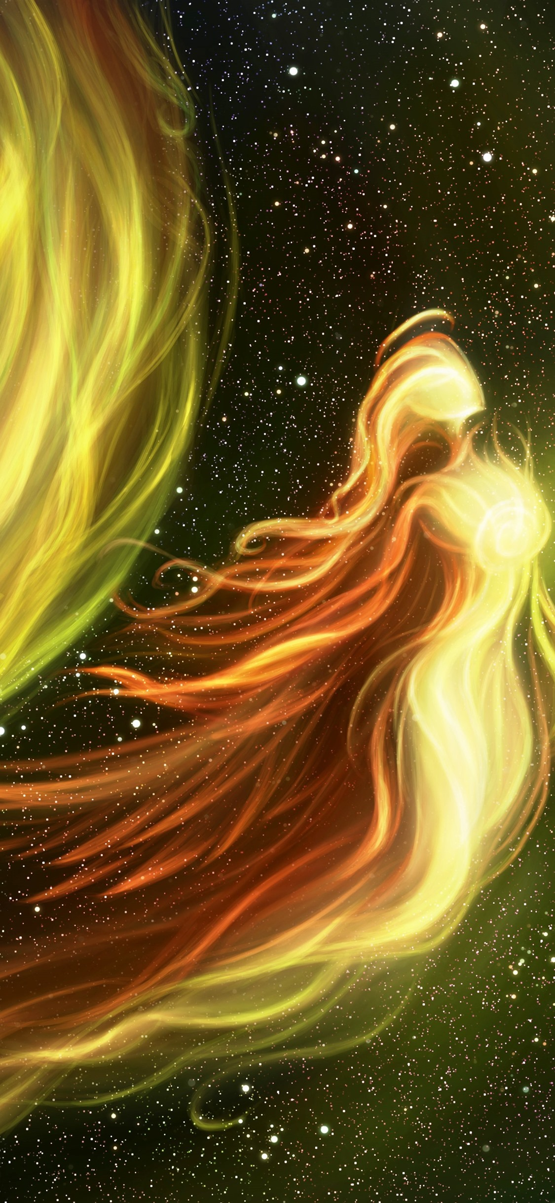 Wallpaper Starry Abstract Fire Girl Creative 3840x2160