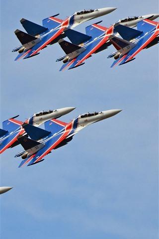 iPhone Wallpaper Su-30CM multi-role fighter, flight show