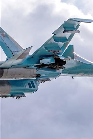 iPhone Wallpaper Su-34 fighter, bomber, flight, sky, clouds
