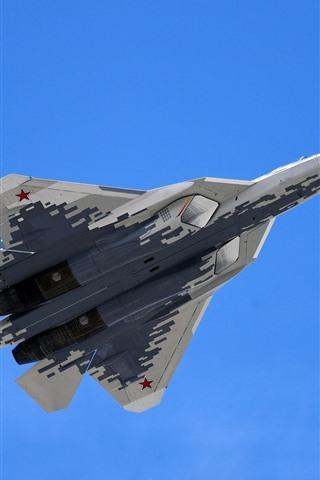 iPhone Wallpaper Su-57 multi-role fighter flight, blue sky