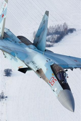 iPhone Wallpaper Sukhoi Su-35S fighter flight, snow, winter